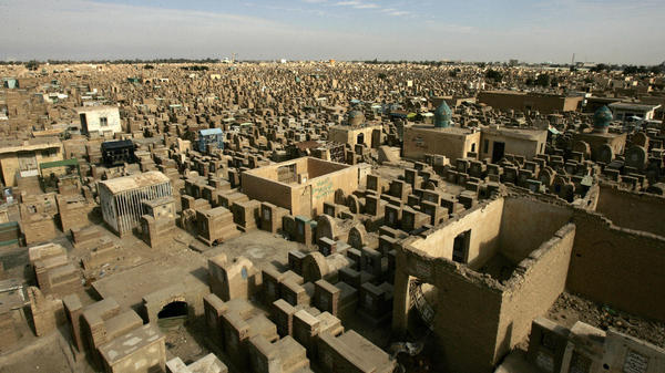 The Valley of Peace in Najaf, where millions of Shiite Muslims are buried, is one of the largest cemeteries in the world. The crowded cemetery is preparing to receive more burials, as Shiite volunteers fight and die in Iraq's ongoing conflict.