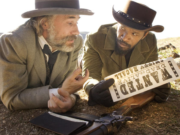 This undated publicity image released by The Weinstein Company shows Christoph Waltz as Schultz and Jamie Foxx as Django in the film <em>Django Unchained</em>.