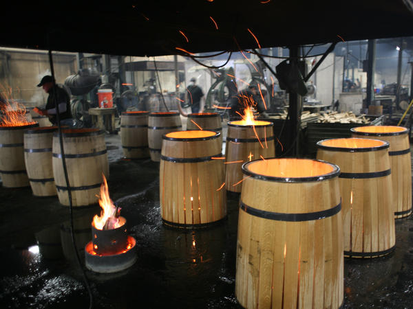 """Once we have the toast layer we'll let the barrel ignite,"" says Paul McLaughlin of Kelvin Cooperage in Louisville, Ky."