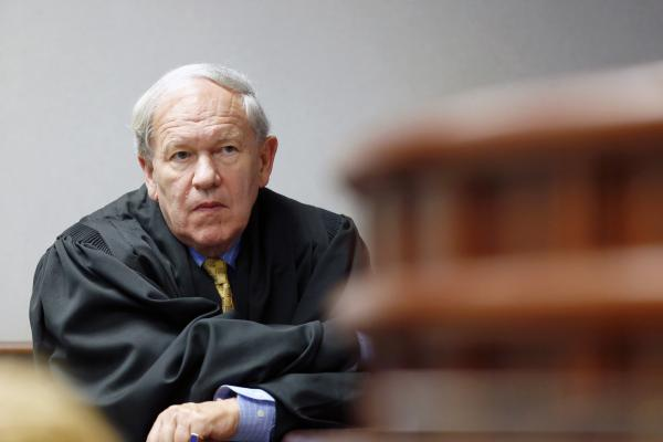 Superior Court Judge Howard Manning presides over a Leandro education hearing in a Wake County courtroom on July 23, 2015. Manning retired last year.
