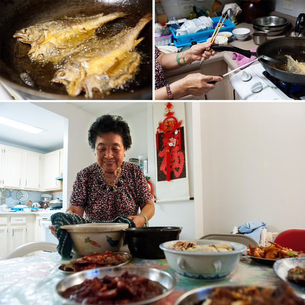 "Ni prepares and serves deep-fried yellow croakers and chicken soup with Chinese yams. Seafood was a staple in Ni's hometown of Fuzhou, China. ""Rich families would eat fish balls and fish dumplings often,"" she says. ""But our family was not well-off, so we only had those during special festivities like Lunar New Year."""