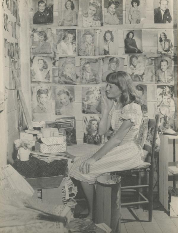 "Bosworth sits in her ""hideout"" in 1945."
