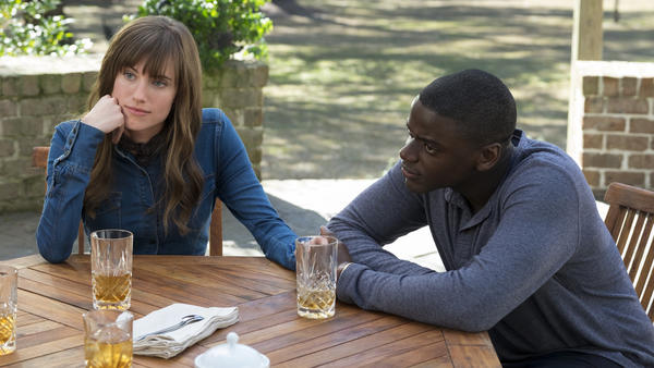 Allison Williams and Daniel Kaluuya in <em>Get Out</em>.