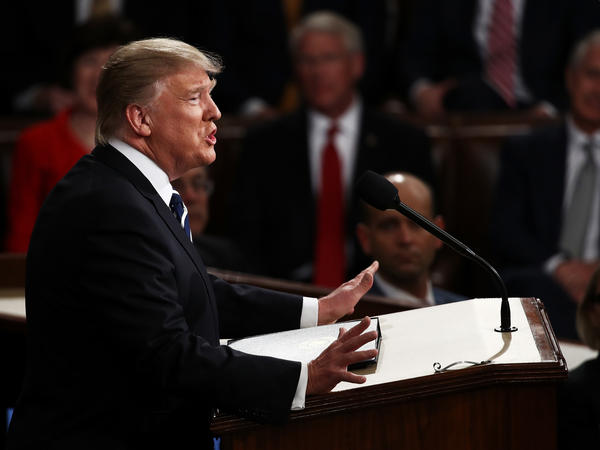 U.S. President Donald Trump arrives to addresses a joint session of the U.S. Congress on Tuesday in the House chamber of the U.S. Capitol in Washington, D.C.