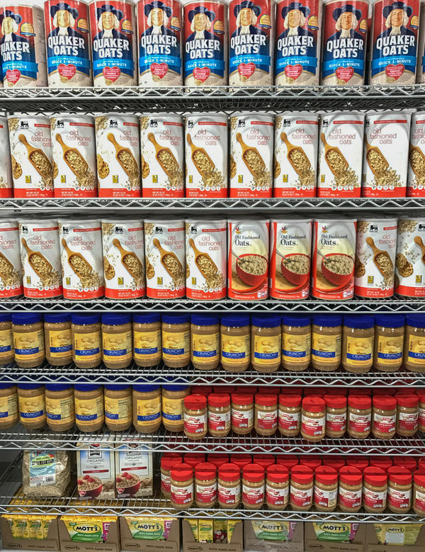 The Geisinger Fresh Food Pharmacy is stocked with healthy pantry staples, like oatmeal and peanut butter, as well as fresh produce.