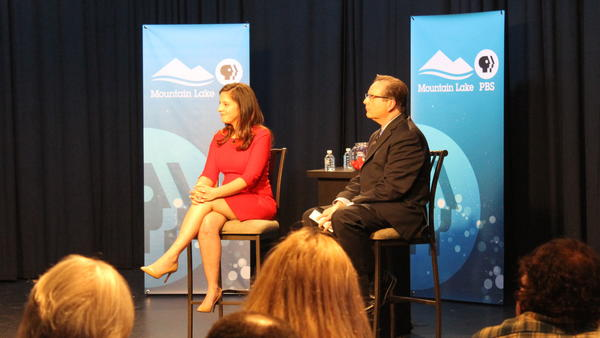 Rep. Elise Stefanik, R-N.Y., with moderator Thom Hallock during her town hall meeting at public television station Mountain Lake PBS in Plattsburgh, N.Y.