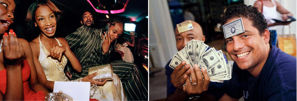 "Left: Crenshaw High School girls selected by a magazine to receive ""Oscar treatment"" for a prom photo shoot take a limo to the event with their dates. Right: Film director and producer Brett Ratner (right), and Russell Simmons, a businessman and cofounder of hip-hop label Def Jam, at L'Iguane restaurant, St. Barts, 1998."
