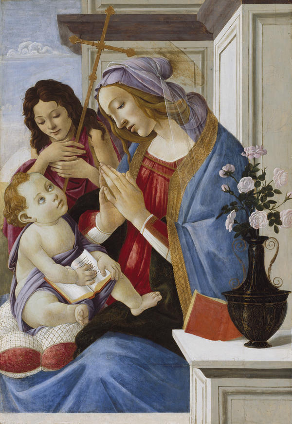 Botticelli's <em>Virgin and Child with Saint John the Baptist</em> was painted later in his career, around 1500.