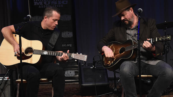 Jason Isbell joins Patterson Hood of Drive-By Truckers onstage during the Americana Music Honors & Awards Nominations Ceremony May 9, 2017.