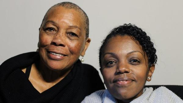 Sarah Churchill and her daughter Yomi Wrong<strong> </strong>at their StoryCorps interview in San Francisco.