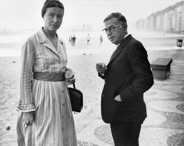 De Beauvoir and Jean-Paul Sartre are shown above at Copacabana Beach, circa 1960.