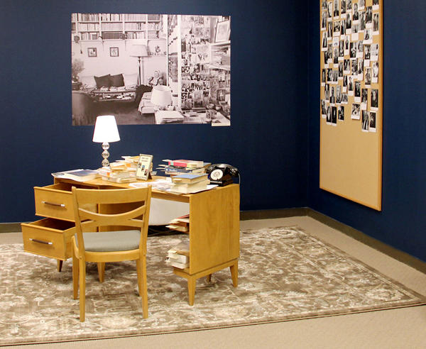 """From the Desk of Simone de Beauvoir"" invites visitors to sit down and explore a replica of the French feminist's desk."