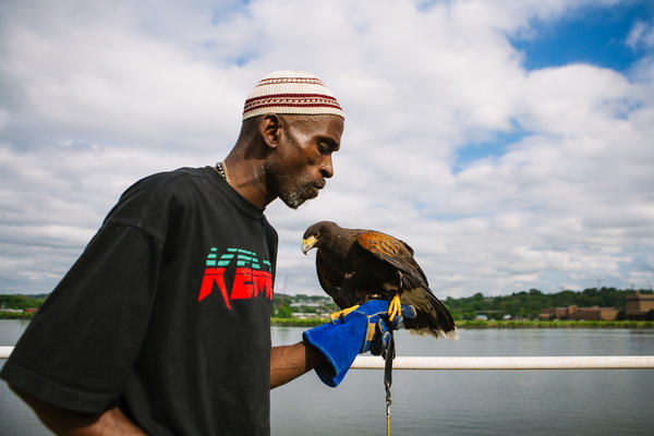Rodney Stotts walks across the roof of the Matthew Henson Earth Conservation Center with one of his hawks. A former drug dealer, he is now a falconer — one of only 30 African-American falconers in the U.S., he says.
