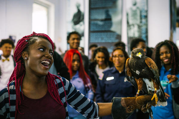 Cyriela Batou, 15, is the first student brave enough to hold a hawk named Sky. She screams when the hawk flaps its wings, but says later the experience made her happy and she'd do it again.