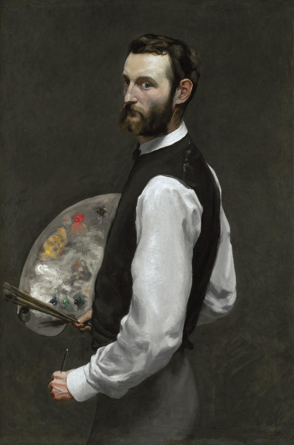Bazille died just before his 29th birthday. (Pictured: <em>Self-Portrait with Palette</em>)