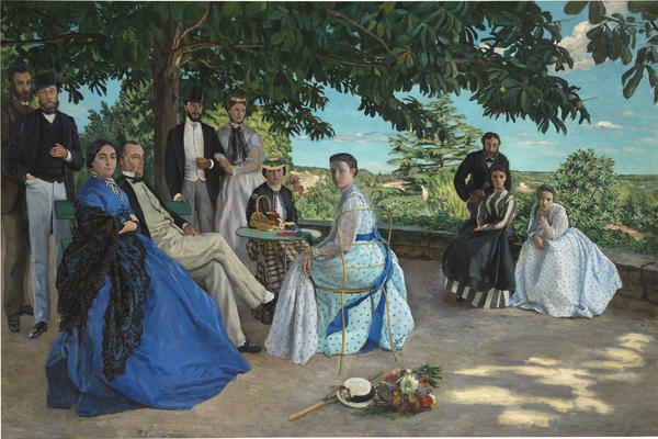 Frédéric Bazille's <em>The Family Gathering</em> has none of the quick, airy brushstrokes his future impressionist peers would discover; but the sunshine is there, as are the bright colors.