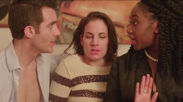 Laura Ramadei (center) as Annie, who gets involved with a different couple in every episode of the web series <em>Unicornland</em>.