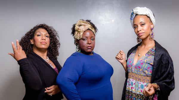 From left to right: Aria Mason (Rosalia), Ebonee Davis (Piquita) and Kenya Lawrence Jackson (La Flamenca) star in OperaCréole's production of <em>La Flamenca</em>.