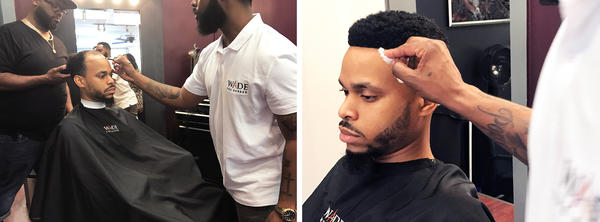 Robert Jenkins, 28, is balding at the top and crown of his head and has had the man weave installed four times. This is his before and after with barber Wade Menendez.