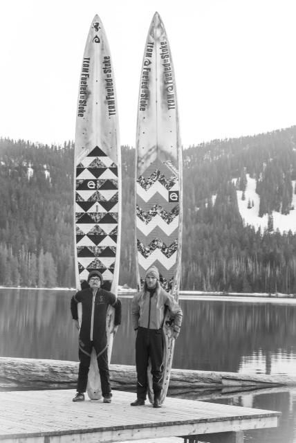 The custom-built paddleboards are 17.5 feet long -- or tall! Team Fueled On Stoke posed at Lost Lake near Mount Hood, Oregon.