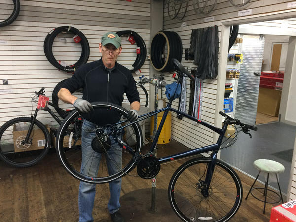 Mark Lipchick builds and repairs bikes at Hutch's Bicycles in Eugene, Oregon.