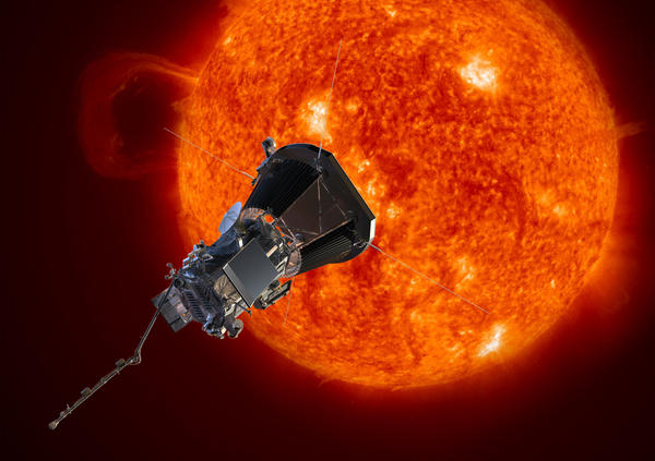 An artist's rendering of the newly named Parker Solar Probe spacecraft approaching the sun.