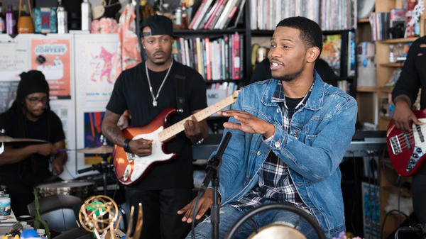 Nick Grant performs a Tiny Desk Concert on May 8, 2017. (Claire Harbage/NPR)