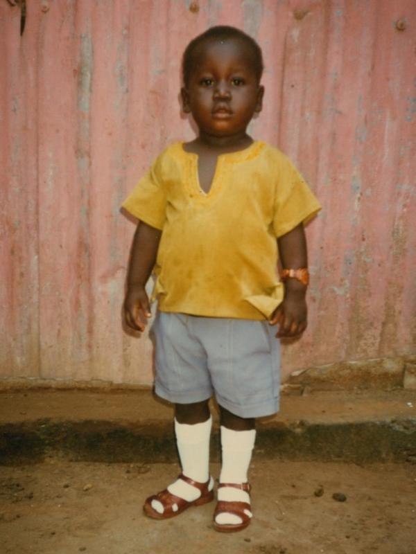 Mwinnyaa, at 2 or 3 years old, grew up in a village in Ghana.