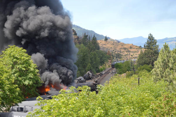 <p>Smoke and fire at the derailment in Mosier, Oregon. </p>
