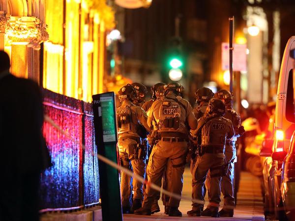Counterterrorism special forces assemble near the scene of a suspected terrorist attack near London Bridge on Sunday in London.