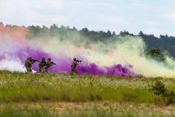 Paratroopers from the 82nd Airborne Division simulate an assault of a compound under cover of smoke as part of the Airborne Review at Fort Bragg's Sicily Drop Zone.