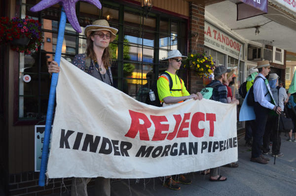 <p>Activists at the May 28, 2017 protest in Vancouver, BC opposing the Trans Mountain pipeline expansion.</p>