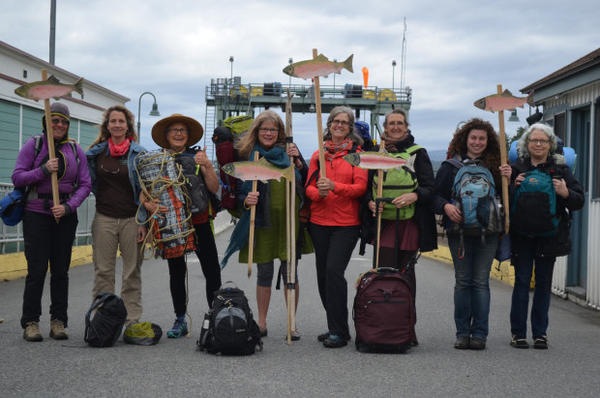 <p>Protesters from Washington's San Juan Islands prepare to board the ferry to join a march opposing expanding an oil pipeline in Canada. It would increase the number of tankers plying the waters of the Salish Sea, including the Strait of Juan de Fuca.</p>
