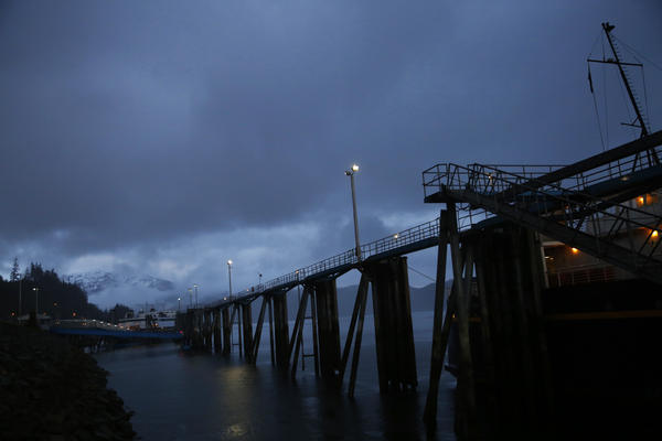 The ferry docks at Auke Bay Ferry Terminal in Juneau.