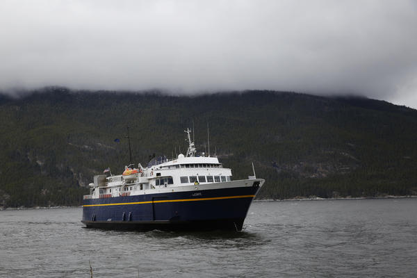 The MV LeConte heading into Haines. The Alaska Marine Highway is how many people in Southeast Alaska get from town to town.