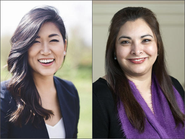 Republican Jinyoung Englund, left, and Democrat Manka Dhingra will face off this fall for an open state Senate seat in Washington's 45th legislative district.