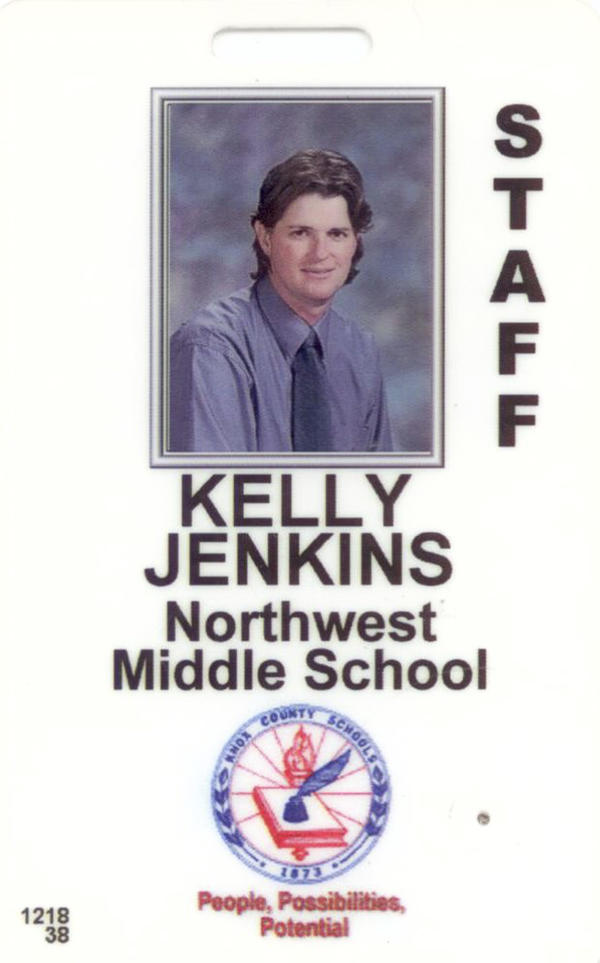 Kelly Jenkins' school ID before she transitioned. For years, Jenkins presented as a man during the day and as a woman on her free time.