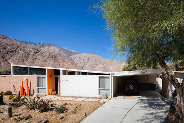 """Krisel said he wouldn't like to live in the desert, """"but I like it as a locale for my architecture."""" Above, one of his designs perched on a mountain in California."""