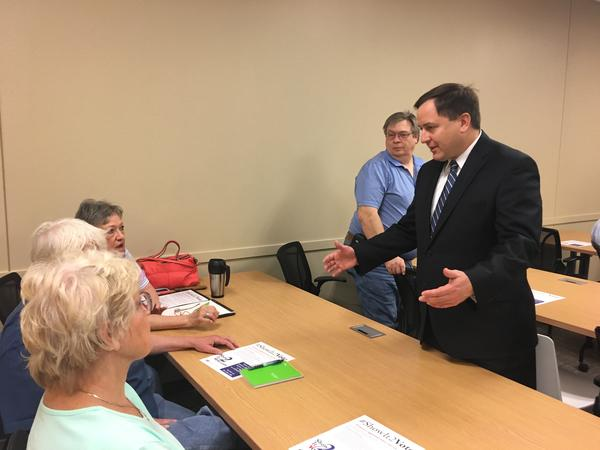 Missouri Secretary of State Jay Ashcroft talked abut the state's new voter ID law Tuesday in Blue Springs.