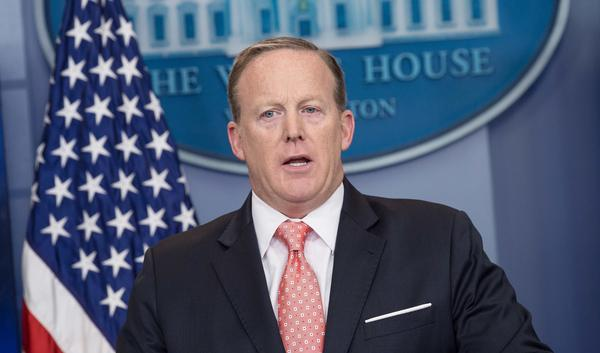 White House spokesman Sean Spicer gives the daily press briefing at the White House on Tuesday.