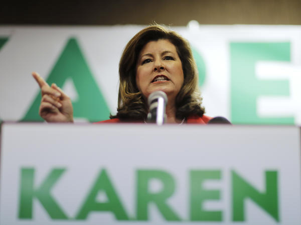 Republican candidate for Georgia's 6th Congressional District Karen Handel updates supporters on early results at an election-night watch party in Roswell, Ga., in April.