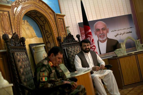 Gen. Mowein Faqir (left) and Helmand Gov. Hayatullah Hayat, who met with the NPR reporters on June 5, 2016.