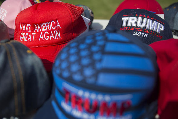 Donald Trump merchandise at his rally at the Travis County Expo Center.
