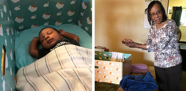 Solomon has slept in a baby box since he came home from the hospital a month ago. Family support worker Marcia Virgil reminds Solomon's mother that it's not safe for babies to sleep with blankets.