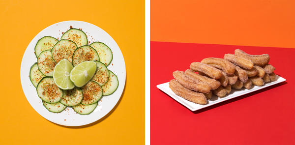 (Left) Cucumber slices seasoned with Tajín and lime wedges. (Right)<em> </em>Vegan churros.