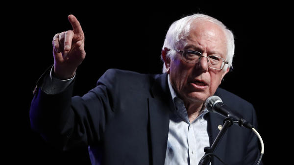 Sen. Bernie Sanders, I-Vt., speaks at a rally in Omaha, Neb., on April 20. Sanders has been criticized for a recent line of questioning toward a Trump administration nominee, which focused on the man's religious beliefs about damnation.