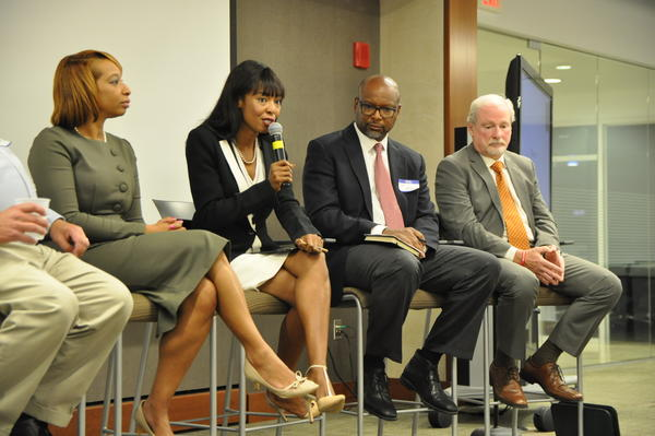 Missouri state Rep. Cora Faith Walker, D-Ferguson, speaks on a panel held by NAHSE-STL. Affinia Healthcare Chief Operating Officer Kendra Holmes, criminologist Dan Isom, and anti-addiction advocate Howard Weissman join her.