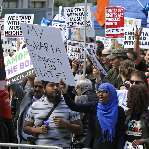 "Counter-protesters respond to the ""anti-sharia"" rally in Seattle on Saturday."