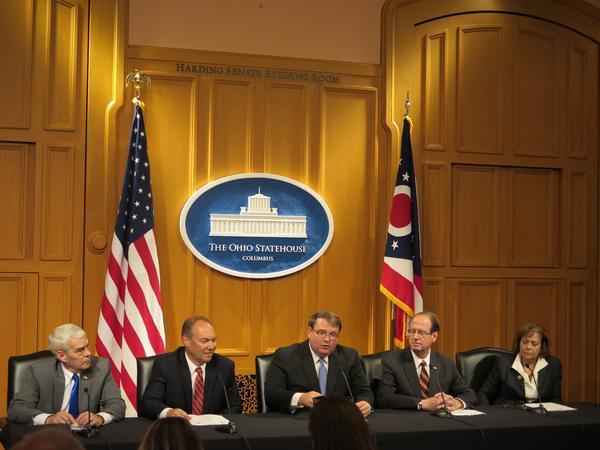 L-R Senators Randy Gardner, Bob Peterson, Larry Obhof, Scott Oelslager, Gayle Manning