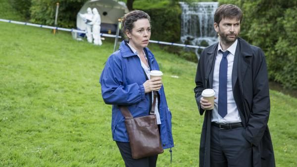 Olivia Colman and David Tennant play detectives in a small seaside English hamlet in <em>Broadchurch</em>.